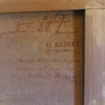 Retro della tela di Sandri con dedica a G. Bedini