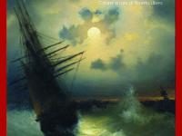 barca a vela con luna piena sul mare